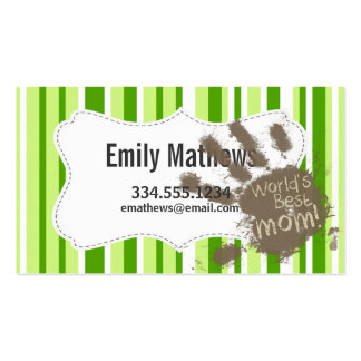 Green Stripes; Striped; Funny Mum Pack Of Standard Business Cards