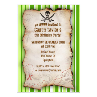 Green Stripes; Striped Jolly Roger; Pirate 13 Cm X 18 Cm Invitation Card