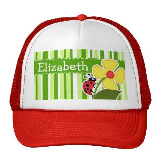 Green Stripes; Striped; Ladybug Cap