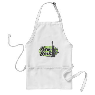 Green Stripes; Striped; Statue of Liberty Adult Apron
