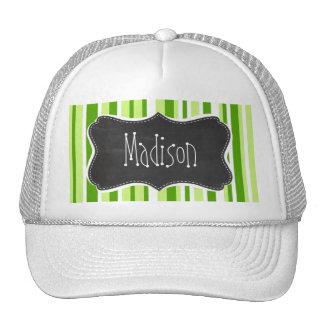 Green Stripes Striped Vintage Chalkboard Mesh Hat