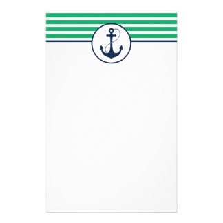Green Stripes with Anchor Stationery