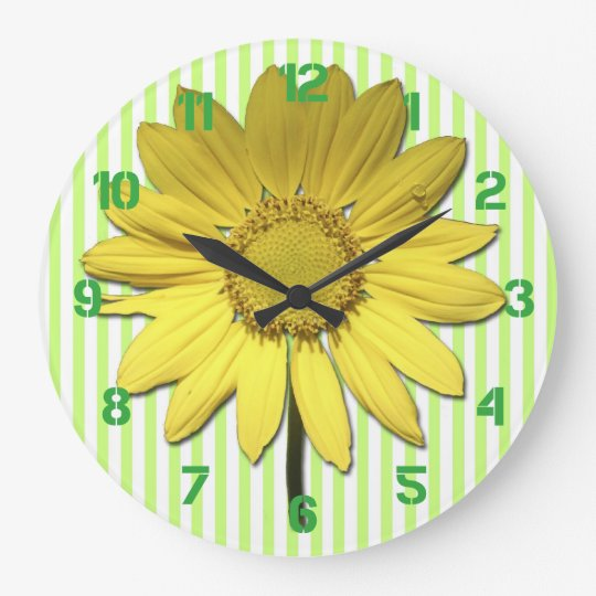 Green Stripes Yellow Daisy Wall Clock
