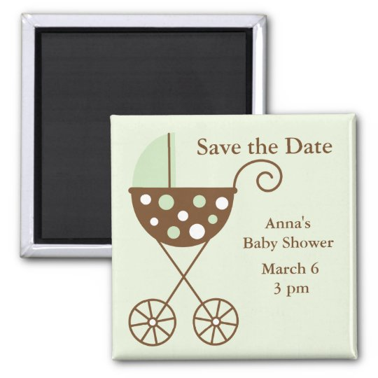 Green Stroller Baby Shower Save the Date Magnet