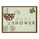 Green Stroller Baby Shower Sign