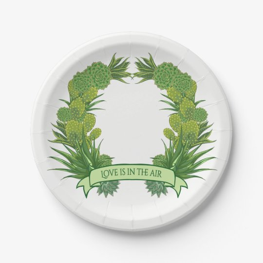 Green Succulent & Cactus Floral Wedding Party Paper