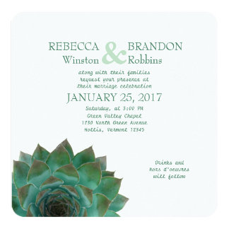 Green Succulent Horizontal Wedding Invitations