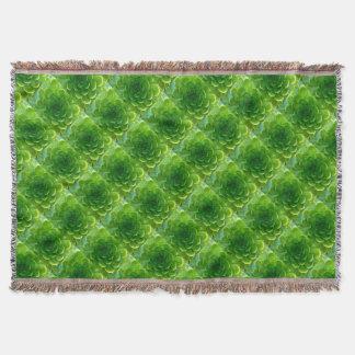 Green Succulent Leafy Afghan Throw Blanket