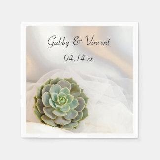 Green Succulent on White Wedding Disposable Napkin