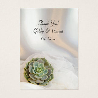 Green Succulent on White Wedding Favor Tags Business Card