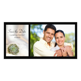 Green Succulent on White Wedding Save the Date Card
