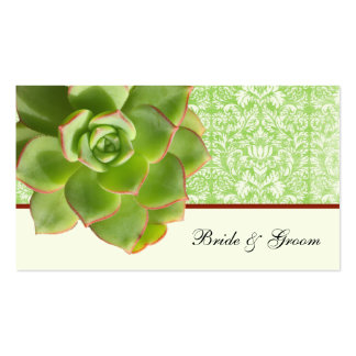 Green Succulent Vintage Damask Ivory Place Cards Business Cards