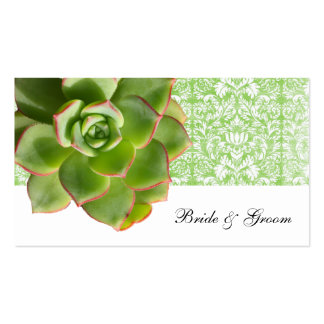 Green Succulent Vintage Damask Place Cards Double-Sided Standard Business Cards (Pack Of 100)