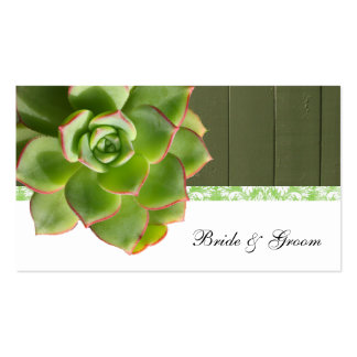 Green Succulent Vintage Wood Damask Place Cards Double-Sided Standard Business Cards (Pack Of 100)