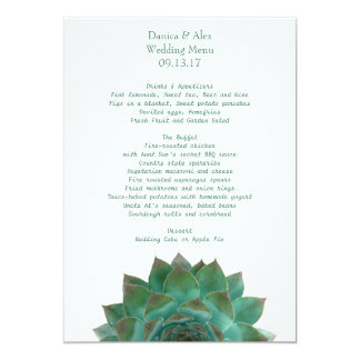 Green Succulent Wedding Menu Template Card
