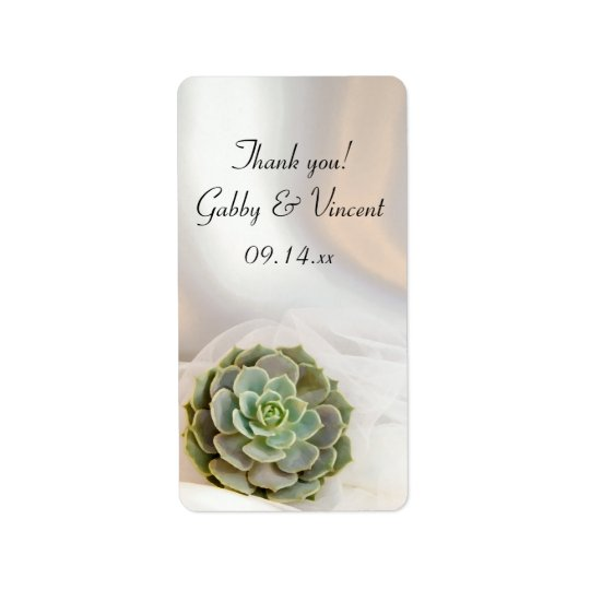 Green Succulent White Wedding Thank You Favour Label