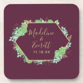 Green Succulents Gold Frame Wedding Monogram Coaster
