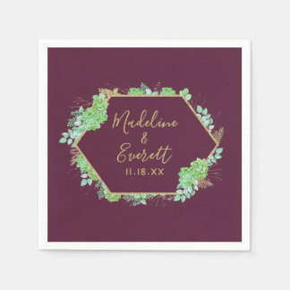 Green Succulents Gold Frame Wedding Monogram Paper Napkin