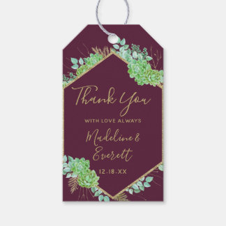 Green Succulents Gold Frame Wedding Thank You Gift Tags