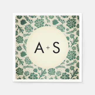 Green Succulents in Natural Wedding Monogram Disposable Napkin