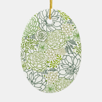 Green succulents pattern christmas ornament