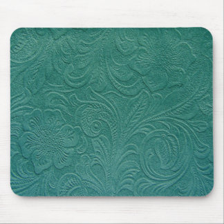 Green Suede Leather Look-Embossed Floral Design Mouse Mat