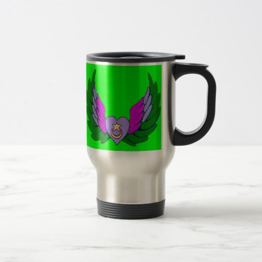 Green Sufi Winged Heart Travel Mug