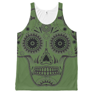 Green Sugar Skull All-Over Printed Unisex Tank All-Over Print Tank Top