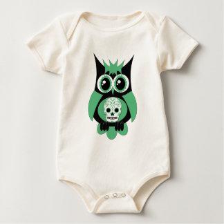 Green Sugar Skull Owl Baby Bodysuit