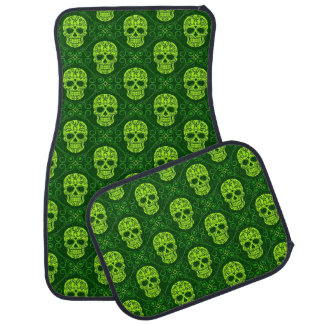 Green Sugar Skull Pattern Car Mat