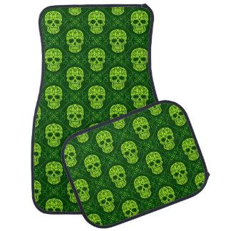 Green Sugar Skull Pattern Floor Mat