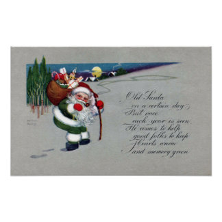 Green Suited Santa Hikes Up Hill Vintage Christmas Poster