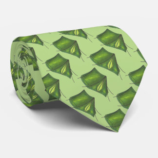 Green Summer Camp Camping Tent Print Tents Tie