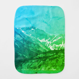 Green Summer Mountains Burp Cloth