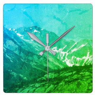 Green Summer Mountains Clock