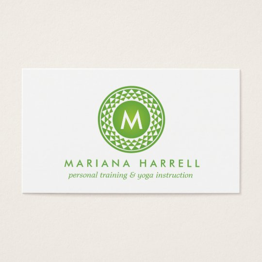 GREEN SUN LOGO MONOGRAM for YOGA STUDIO, FITNESS