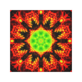 Green sun mandala canvas print