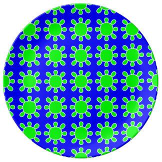Green sun on blue plate