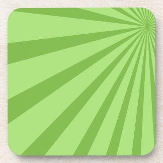 Green Sunburst Beverage Coasters