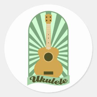 Green Sunburst Ukulele Round Sticker