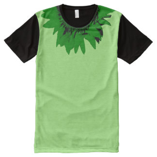 Green Sunflower Accent Collar on Green Black All-Over Print T-Shirt