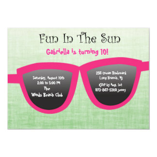 Green SunGlasses Birthday Party Invitation