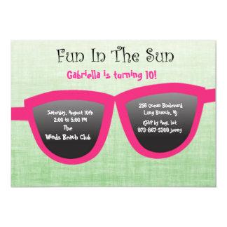 Green SunGlasses Birthday Party Invitation