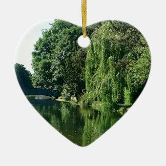 Green sunny spring day green trees river walk ceramic heart decoration