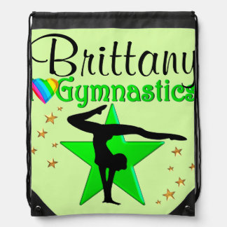 GREEN SUPER STAR PERSONALIZED GYMNAST PACKPACK DRAWSTRING BAG