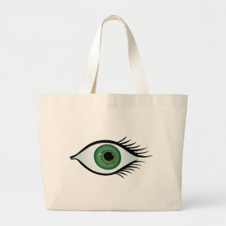 green surprised eye jumbo tote bag