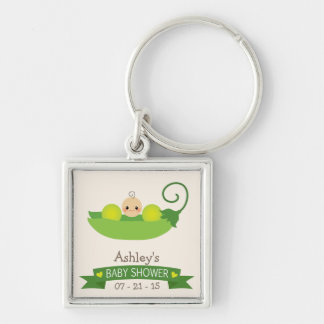 Green Sweet Pea Baby Shower Silver-Colored Square Keychain