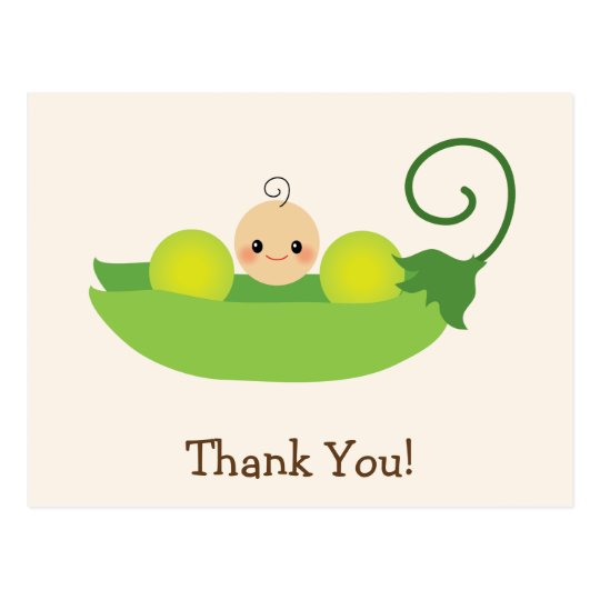 Green Sweet Pea Baby Shower Thank You Postcard