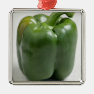 Green sweet pepper For use in USA only.) Silver-Colored Square Decoration
