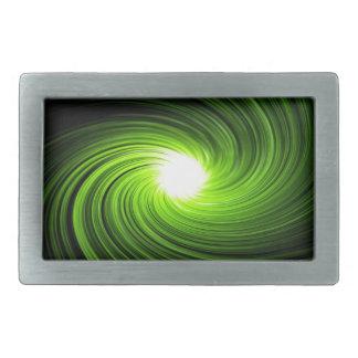 Green swirl abstract. belt buckles
